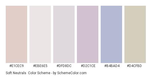Soft Neutrals - Color scheme palette thumbnail - #e1cec9 #ebe6e5 #dfd8dc #d2c1ce #b4bad4 #d4cfbd