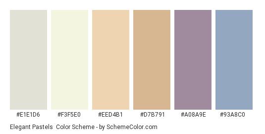 Elegant Pastels - Color scheme palette thumbnail - #e1e1d6 #f3f5e0 #eed4b1 #d7b791 #a08a9e #93a8c0