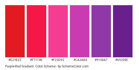 Purple-Red Gradient - Color scheme palette thumbnail - #e21b22 #f71746 #f23d92 #ca3ab0 #9138a7 #69208e