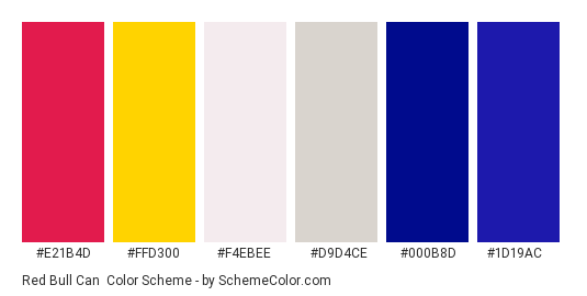 Red Bull Can - Color scheme palette thumbnail - #e21b4d #ffd300 #f4ebee #d9d4ce #000b8d #1d19ac