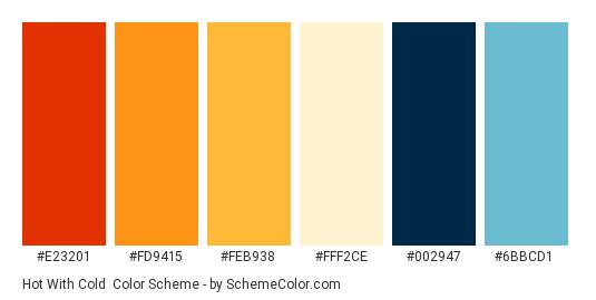 Hot with Cold - Color scheme palette thumbnail - #e23201 #fd9415 #feb938 #fff2ce #002947 #6bbcd1