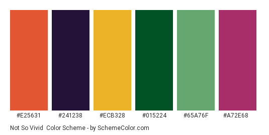 Not so Vivid - Color scheme palette thumbnail - #e25631 #241238 #ecb328 #015224 #65a76f #a72e68