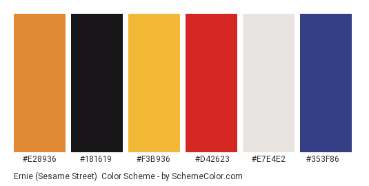 Ernie (Sesame Street) - Color scheme palette thumbnail - #e28936 #181619 #f3b936 #d42623 #e7e4e2 #353f86
