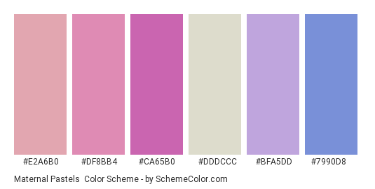 Maternal Pastels - Color scheme palette thumbnail - #e2a6b0 #df8bb4 #ca65b0 #dddccc #bfa5dd #7990d8