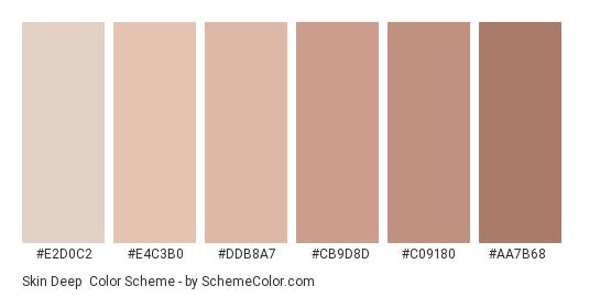 Skin Deep - Color scheme palette thumbnail - #e2d0c2 #e4c3b0 #ddb8a7 #cb9d8d #c09180 #aa7b68