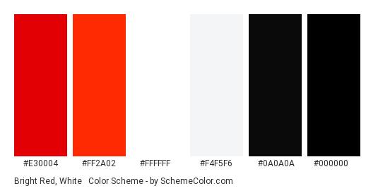 Bright Red, White & Black - Color scheme palette thumbnail - #e30004 #ff2a02 #ffffff #f4f5f6 #0a0a0a #000000