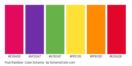 Fruit Rainbow - Color scheme palette thumbnail - #e30a5d #6f2da7 #67b347 #ffe135 #ff8c00 #e2062b