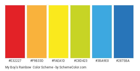 My Boy's Rainbow - Color scheme palette thumbnail - #e32227 #f9b33d #faea1d #c8d423 #3ba9e0 #2875ba