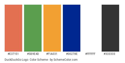 DuckDuckGo Logo - Color scheme palette thumbnail - #e37151 #5b9e4d #f1a031 #00278e #ffffff #333333