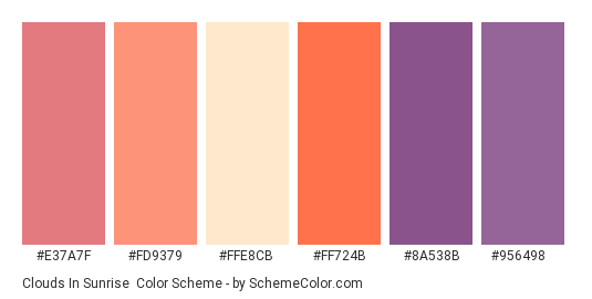 Clouds in Sunrise - Color scheme palette thumbnail - #e37a7f #fd9379 #ffe8cb #ff724b #8a538b #956498