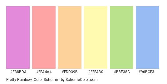Pretty Rainbow - Color scheme palette thumbnail - #e38bda #ffa4a4 #fdd39b #fffab0 #b8e38c #96bcf3