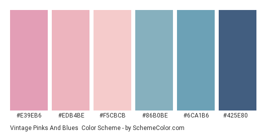 Vintage Pinks and Blues - Color scheme palette thumbnail - #e39eb6 #edb4be #f5cbcb #86b0be #6ca1b6 #425e80