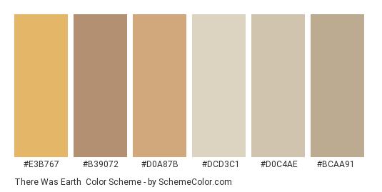 There was Earth - Color scheme palette thumbnail - #e3b767 #b39072 #d0a87b #dcd3c1 #d0c4ae #bcaa91