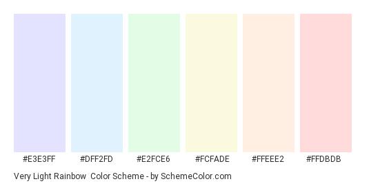 Very Light Rainbow - Color scheme palette thumbnail - #e3e3ff #dff2fd #e2fce6 #fcfade #ffeee2 #ffdbdb