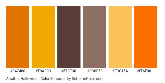 Another Halloween - Color scheme palette thumbnail - #e47400 #f0a900 #573e38 #8d6e63 #fdc15a #ff6f00