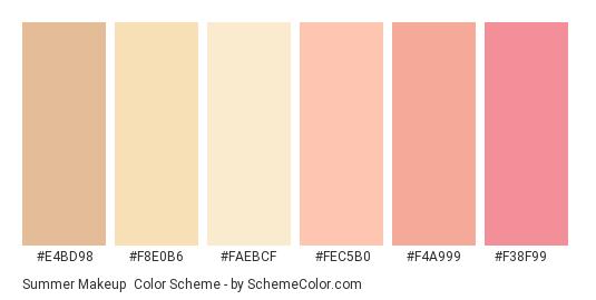 Summer Makeup - Color scheme palette thumbnail - #e4bd98 #f8e0b6 #faebcf #fec5b0 #f4a999 #f38f99