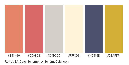 Retro USA - Color scheme palette thumbnail - #e58469 #d96868 #d4d0c9 #fff3d9 #4c516d #d3af37