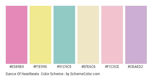 Dance of Heartbeats - Color scheme palette thumbnail - #e589b9 #f1e990 #91c9c5 #efe6c6 #f1c3ce #cbaed2