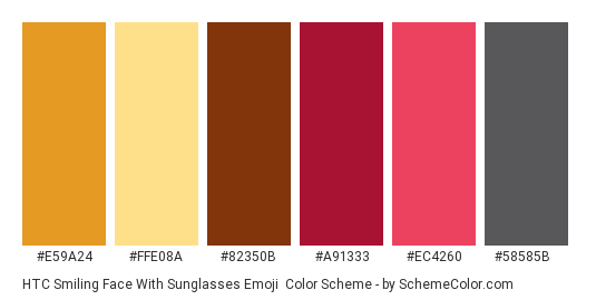 HTC Smiling Face With Sunglasses Emoji - Color scheme palette thumbnail - #e59a24 #ffe08a #82350b #a91333 #ec4260 #58585b