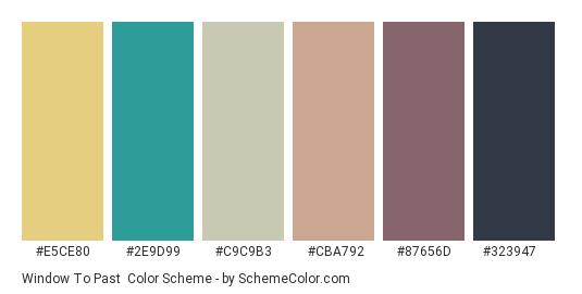Window to Past - Color scheme palette thumbnail - #e5ce80 #2e9d99 #c9c9b3 #cba792 #87656d #323947