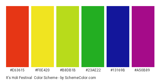 It's Holi Festival - Color scheme palette thumbnail - #e63615 #F0E420 #b8db1b #23ae22 #13169b #a50b89