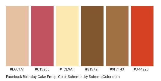 Facebook Birthday Cake Emoji - Color scheme palette thumbnail - #e6c1a1 #c15260 #fce9af #81572f #9f7143 #d44223