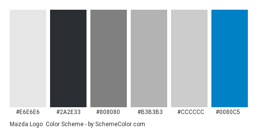 Mazda Logo - Color scheme palette thumbnail - #e6e6e6 #2a2e33 #808080 #b3b3b3 #cccccc #0080c5