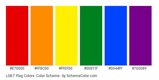LGBT Flag Colors - Color scheme palette thumbnail - #e70000 #ff8c00 #ffef00 #00811f #0044ff #760089
