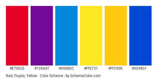 Red, Purple, Yellow & Blue - Color scheme palette thumbnail - #e70025 #720a97 #0088dc #ffe721 #ffc90e #0049d1