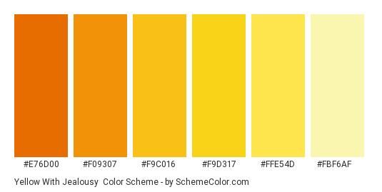 Yellow with Jealousy - Color scheme palette thumbnail - #e76d00 #f09307 #f9c016 #f9d317 #ffe54d #fbf6af
