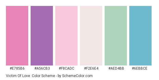 Victim of Love - Color scheme palette thumbnail - #e785b6 #a56cb3 #f8cadc #f2e6e4 #aed4bb #6ebbce