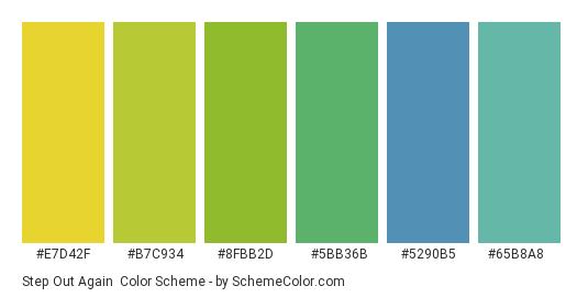 Step Out Again - Color scheme palette thumbnail - #e7d42f #b7c934 #8fbb2d #5bb36b #5290b5 #65b8a8