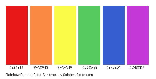 Rainbow Puzzle - Color scheme palette thumbnail - #e81819 #fa8943 #fafa49 #56ca5e #375ed1 #c438d7