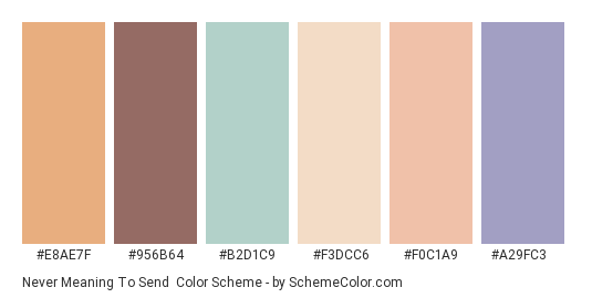 Never Meaning to Send - Color scheme palette thumbnail - #e8ae7f #956b64 #b2d1c9 #f3dcc6 #f0c1a9 #a29fc3