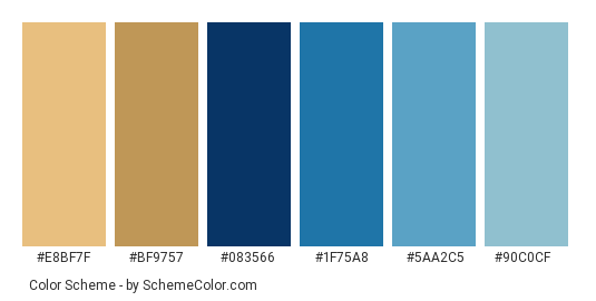 Riveted In Blue Jeans Color Scheme Palette Thumbnail E8bf7f Bf9757 083566