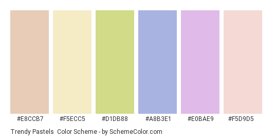 Trendy Pastels - Color scheme palette thumbnail - #e8ccb7 #f5ecc5 #d1db88 #a8b3e1 #e0bae9 #f5d9d5