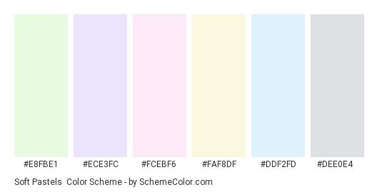 Soft Pastels - Color scheme palette thumbnail - #e8fbe1 #ece3fc #fcebf6 #faf8df #ddf2fd #dee0e4