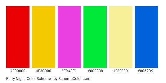 Party Night - Color scheme palette thumbnail - #e90000 #f3c900 #eb40e1 #00e938 #f8f099 #0062d9
