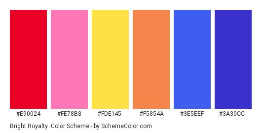 Bright Royalty - Color scheme palette thumbnail - #e90024 #fe78b8 #fde145 #f5854a #3e5eef #3a30cc