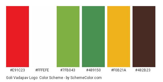 Goli Vadapav Logo - Color scheme palette thumbnail - #e91c23 #fffefe #7fb043 #489150 #f0b21a #482b23