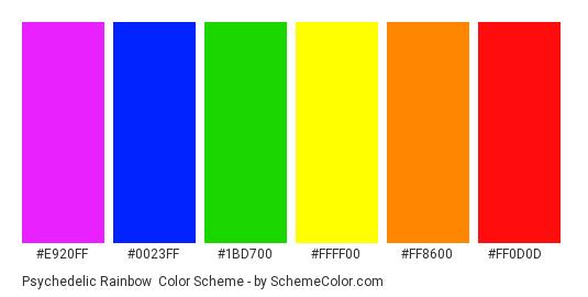 Psychedelic Rainbow - Color scheme palette thumbnail - #e920ff #0023ff #1bd700 #ffff00 #ff8600 #ff0d0d
