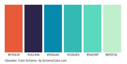 Obsolete - Color scheme palette thumbnail - #e95a38 #2a244a #058aad #32bab5 #5ad9bf #bfefcb
