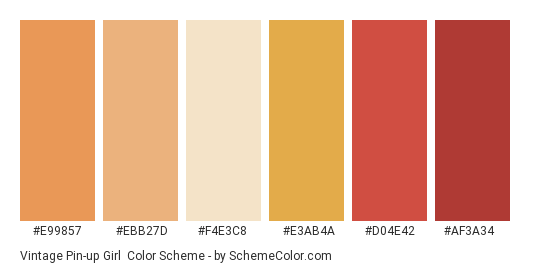 Vintage Pin-up Girl - Color scheme palette thumbnail - #e99857 #ebb27d #f4e3c8 #e3ab4a #d04e42 #af3a34