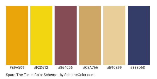 Spare the Time - Color scheme palette thumbnail - #e9a509 #f2d612 #864c56 #cea766 #e9ce99 #333d68