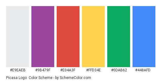Picasa Logo - Color scheme palette thumbnail - #e9eaeb #9b479f #e04a3f #ffd34e #0dab62 #448afd