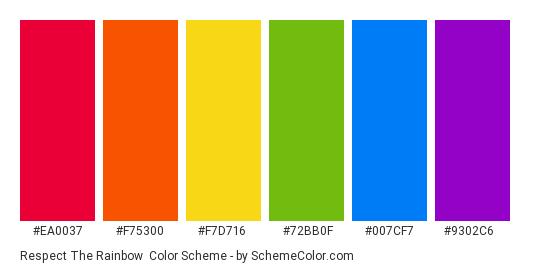 Respect the Rainbow - Color scheme palette thumbnail - #ea0037 #f75300 #f7d716 #72bb0f #007cf7 #9302c6