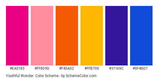 Youthful Wonder - Color scheme palette thumbnail - #ea0183 #ff8d9d #f45a02 #ffb700 #31169c #0f4bd7