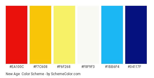 New Age - Color scheme palette thumbnail - #ea100c #f7c608 #f6f268 #f8f9f3 #1bb6f4 #04117f