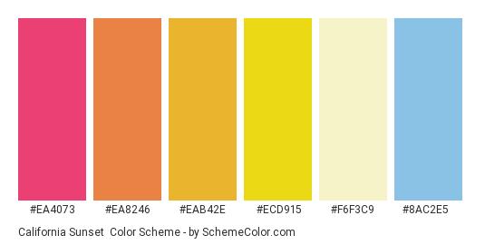 California Sunset - Color scheme palette thumbnail - #ea4073 #ea8246 #eab42e #ecd915 #f6f3c9 #8ac2e5