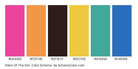 Retro of the 60s - Color scheme palette thumbnail - #ea449d #f29748 #2f1b19 #eec93e #41a89a #296fbb